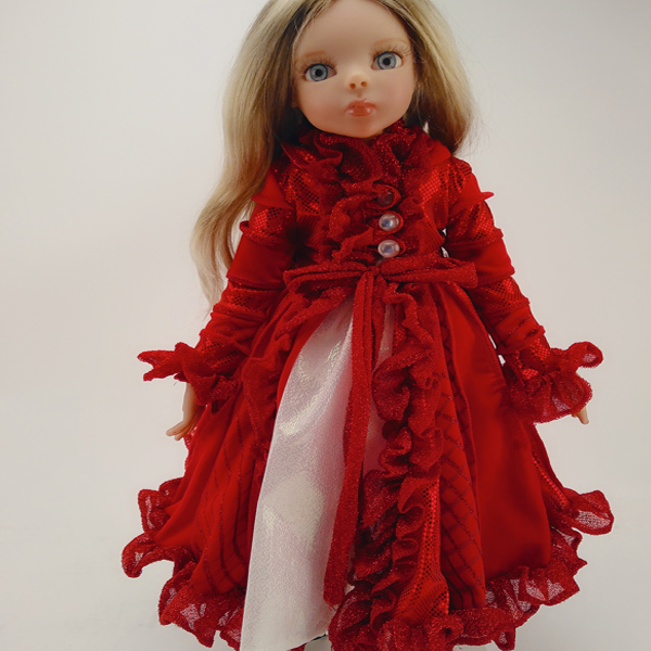 red  long sleeve one-piece dress in doll accessories