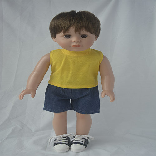 Yellow T-shirt for 18 inch vinyl doll clothes