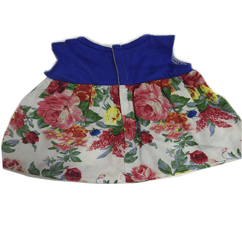 blue vest floral short skirt with bow for vinyl doll clothes