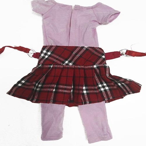 red plaid skirt for 18 inch   vinyl doll clothes