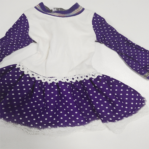purple polka dot dress for 18 inch   vinyl doll clothes