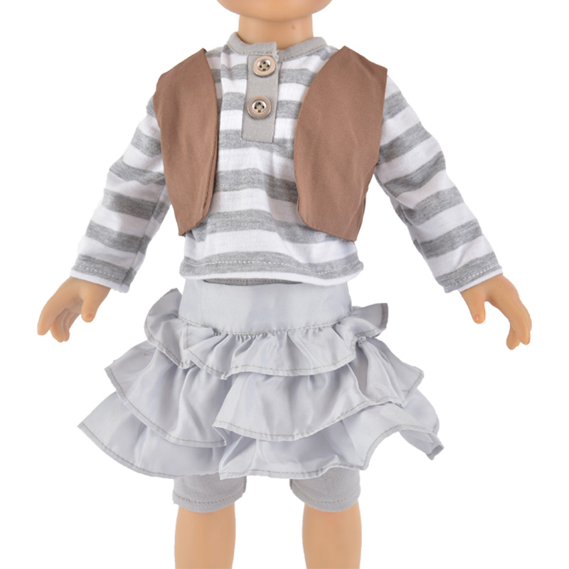 plaid long sleeve dress for  doll accessories